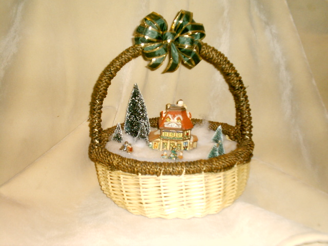 christmas decorations villiage in a basket baskets christmas villiage
