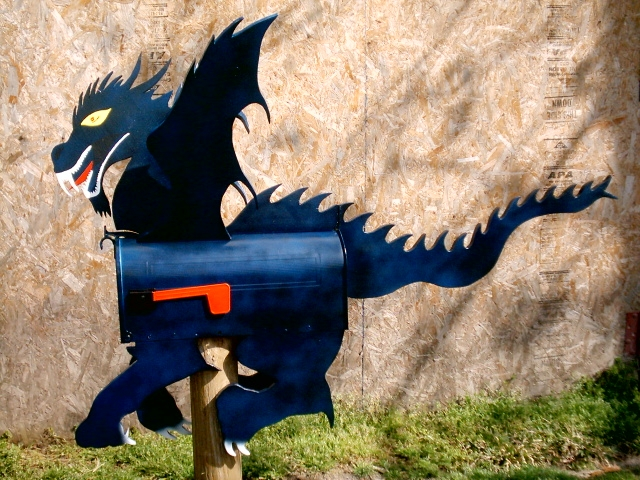 Blue dragon mailboxes