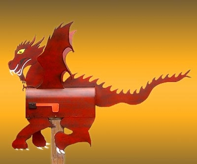 red fire breathing dragon mailbox